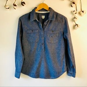 Tom's Navy Button Cotton Blouse M